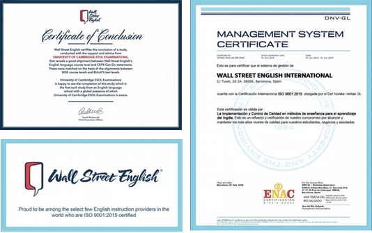 Certificados del Instituto de Inglés WALL STREET ENGLISH